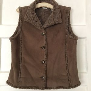 LL Bean Faux Shearling Sherpa Lined Suede Vest